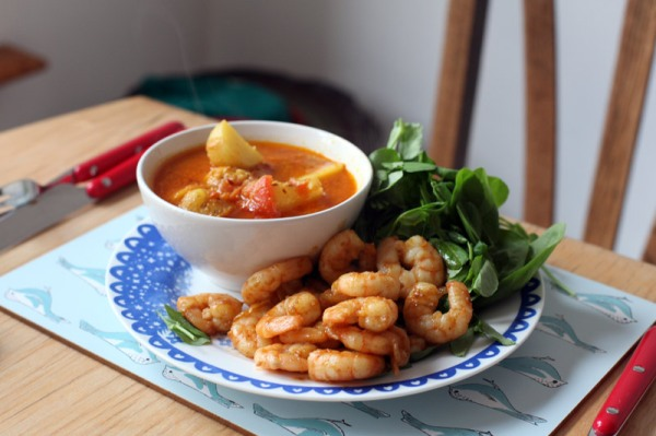 Madhur Jaffrey spiced potatoes and prawns