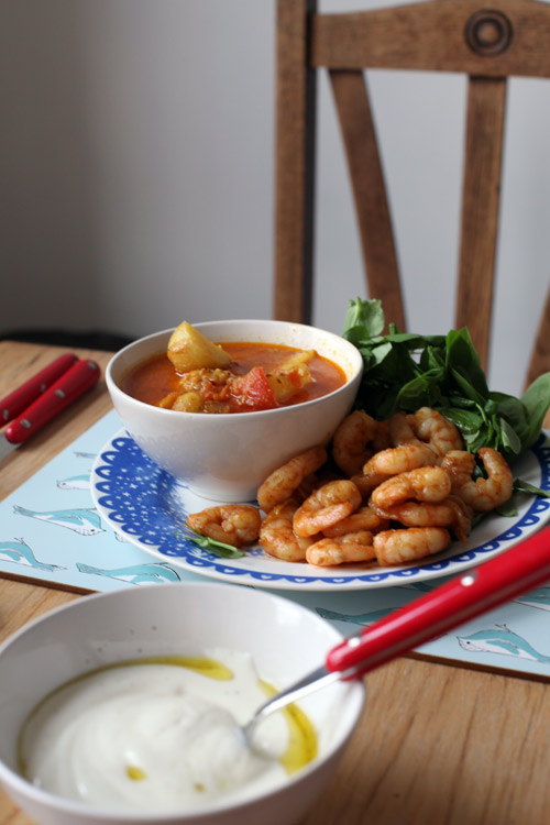 Serve with spiced prawns, greens and yoghurt.